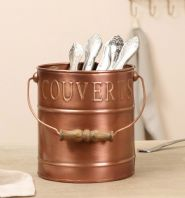 Fabulous French Embossed Chic Copper Cutlery Holder